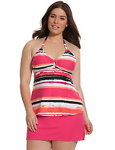 Sunset stripe ring halter swim tank