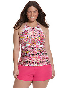 Paisley high neck swim tank