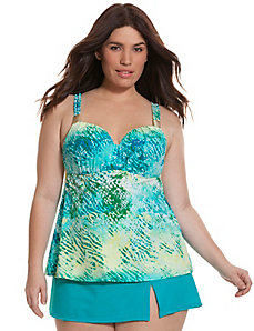 Animal print swim tank with built-in balconette bra