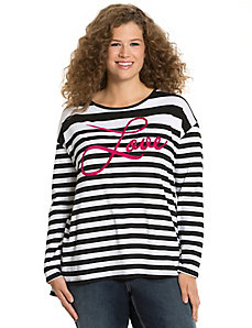 Love striped long sleeve tee