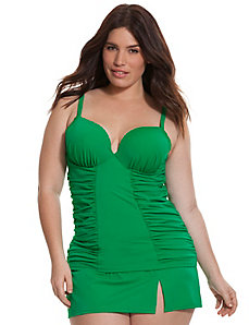Ruched side swim tank with built-in plunge bra