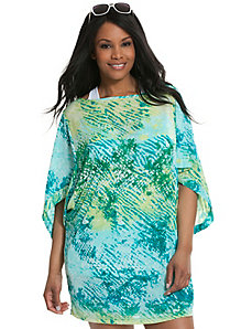 Animal print kimono swim cover-up