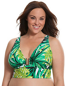 Palm print bikini top with built-in balconette bra
