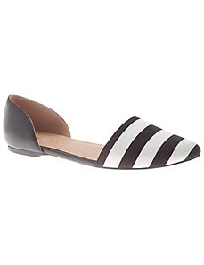 Striped pointed toe flat