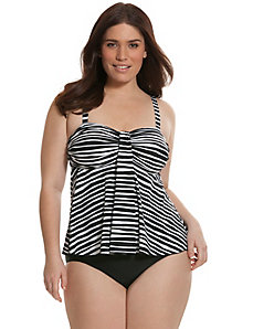 Striped waterfall swim tank with no-wire bra