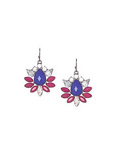 Stone flower drop earrings