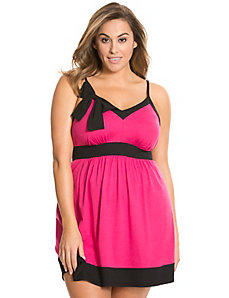 Colorblock chemise with bow