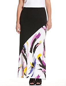 Print block maxi skirt