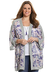Floral chiffon overpiece with knit trim