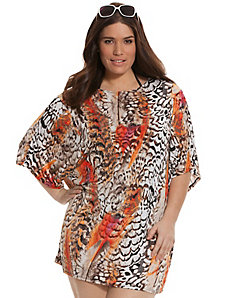 Printed cocoon swim cover-up