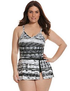 Foiled stripe swim dress