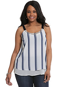 Embellished striped grosgrain tank