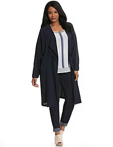 Woven cinched waist duster