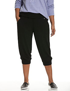 Fold-over waist active capri