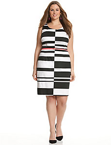Graphic sheath dress with color pop belt