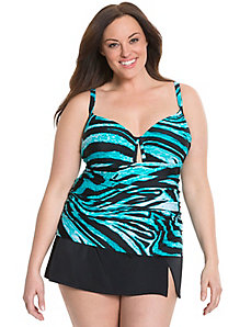 Colored zebra swim tank with built in balconette bra