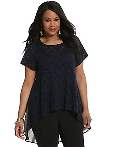 Lace tee with chiffon back