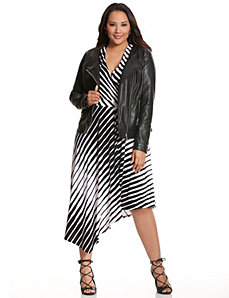 Graphic stripe asymmetric dress