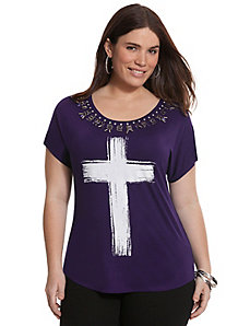 Necklace cross graphic tee