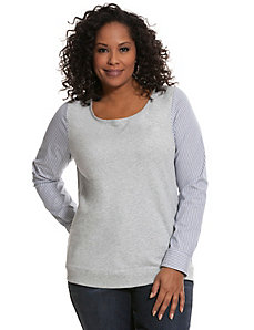 Woven sleeve sweatshirt