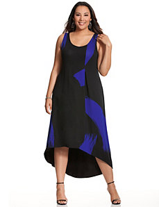Brushstroke high-low maxi dress