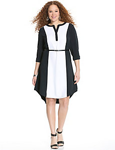 Colorblock shirt dress with envelope back