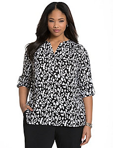 Animal print split back blouse