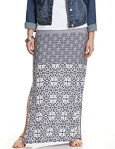 Floral print block maxi skirt