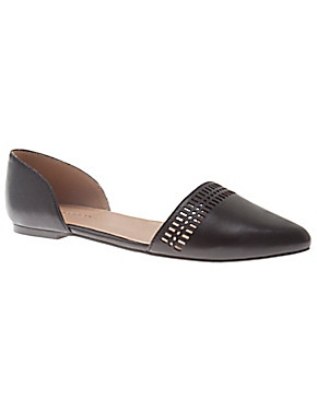 Claudina perforated leather flat by Lane Bryant