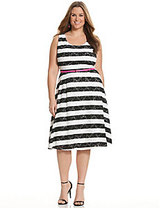 Striped lace skater dress