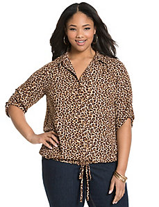 Animal print drawstring blouse