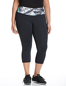 Cooling capri legging with printed waist