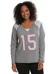 Number tee with lace trim