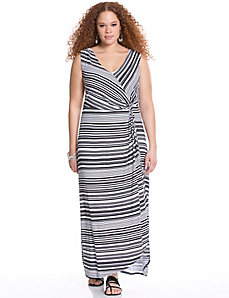 Twist front striped maxi dress