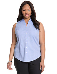 Herringbone sleeveless Perfect Shirt