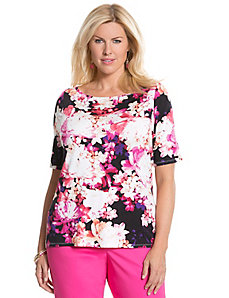 Floral delicate ribbed tee