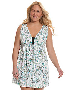 Botanical print chemise with lace