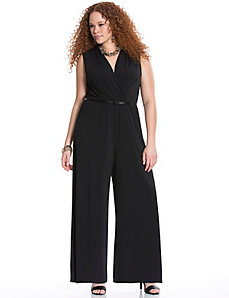 Shawl collar wide leg jumpsuit