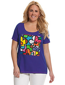 Embellished graphic tee by Romero Britto