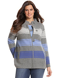 Alpine stripe boiled wool cardigan by Pendleton
