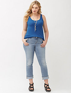 Genius Fit™ cuffed denim crop