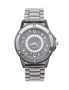 Stone accent fashion watch