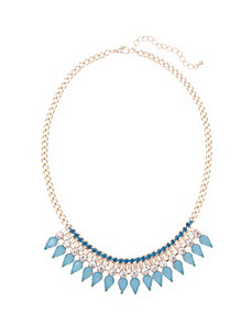 Threaded stone bib necklace