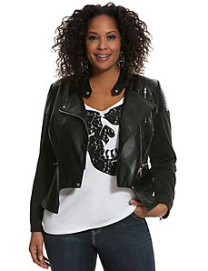 Faux leather & ponte moto jacket