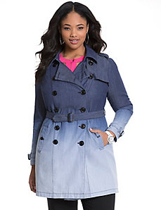 Dip dye denim trench coat by MODAMIX