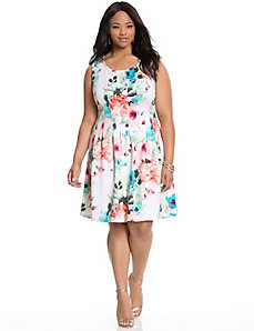 Floral scuba dress by MODAMIX