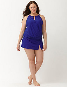 Blouson swim tank with built-in underwire bra