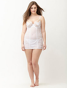Lace cup shirred babydoll