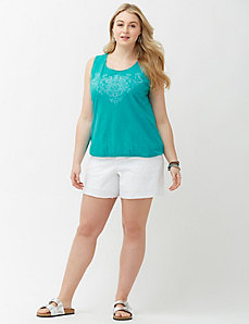 Eyelet white denim short