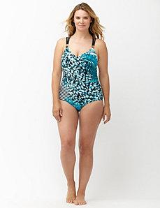 Water print strappy one piece swim suit